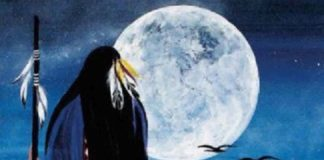 Native American Grandmother and Full Moon